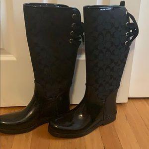 Black coach rain boots